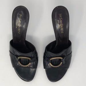 YVES SAINT LAURENT Brown Leather Mule Heels